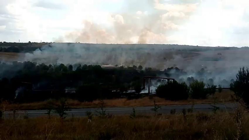 """Пожар избухна в близост до крайните райони на ЖК """"Орел"""" в Разград /ВИДЕО/"""